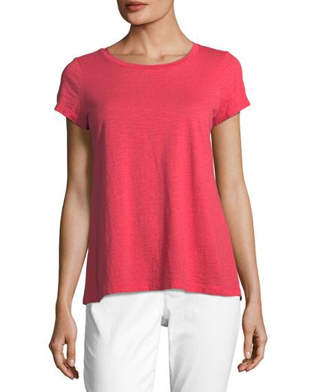 Eileen Fisher Slubby Short-Sleeve Cotton Tee, Plus Size