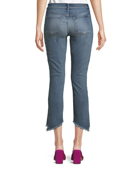 Cropped Skinny Jeans with Asymmetric Hem