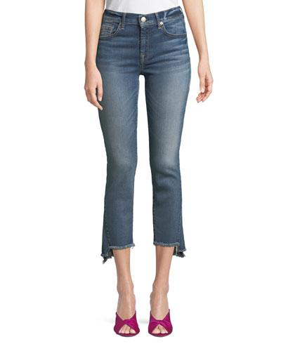 Cropped Skinny-Leg Jeans with Asymmetric Hem