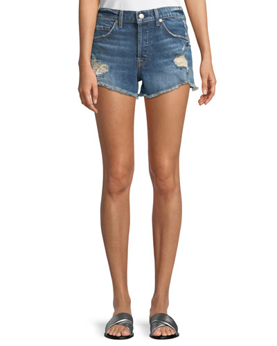 Destroyed Denim Boyfriend Shorts with Wave Hem