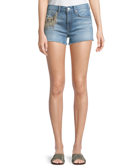7 for all mankind Embellished Cutoff Denim Shorts
