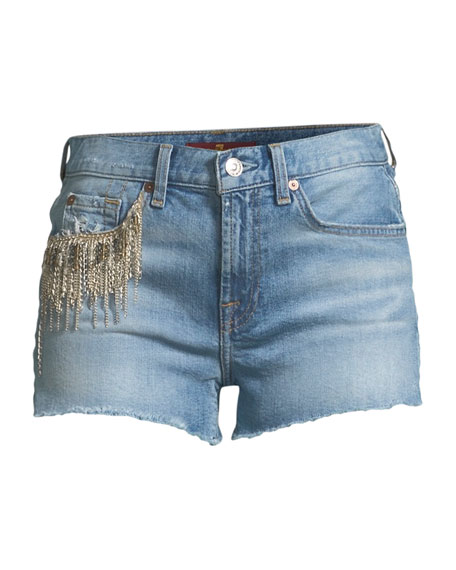 Embellished Cutoff Denim Shorts
