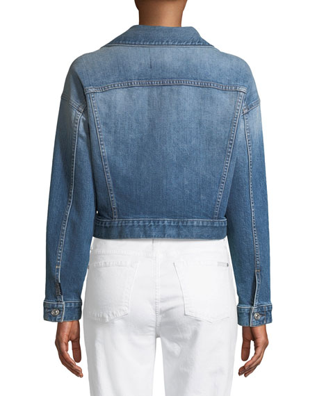 Bubble Button-Front Denim Jacket