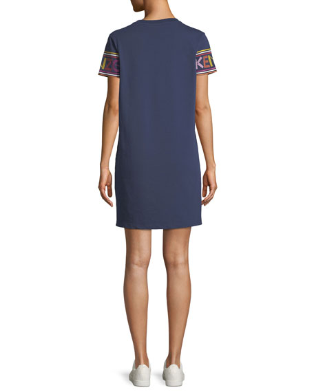Crewneck Logo-Sleeve Mini Shirtdress