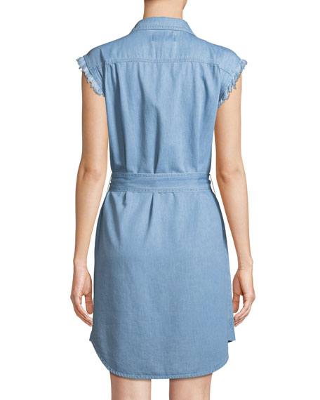 Cutoff-Sleeve Denim Shirtdress