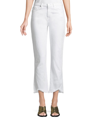 Edie Cropped Straight-Leg Jeans with Wave Hem