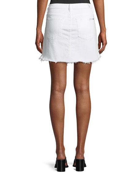 Destroyed Denim Scalloped-Hem Skirt