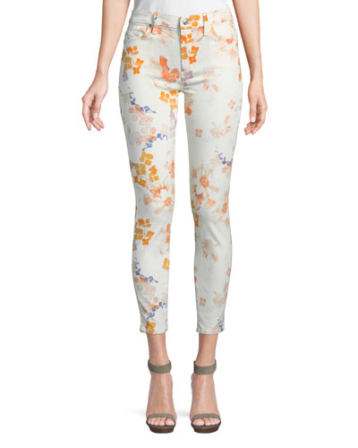Floral-Print Ankle Skinny Jeans