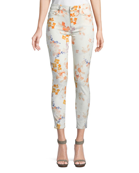 Floral-Print Ankle Skinny Jeans