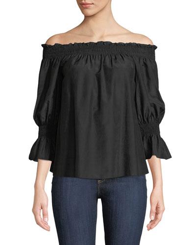 Smocked Silk/Cotton Off-the-Shoulder Top