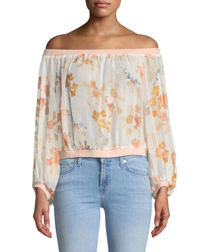 Off-the-Shoulder Silk Blouson Top