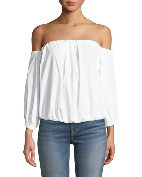Off-the-Shoulder Puff-Sleeve Stretch-Poplin Top