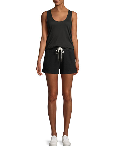 Scoop-Neck Drawstring Tank Romper
