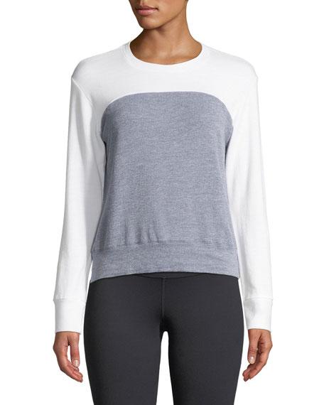 Heathered Colorblock Crewneck Sweatshirt Top