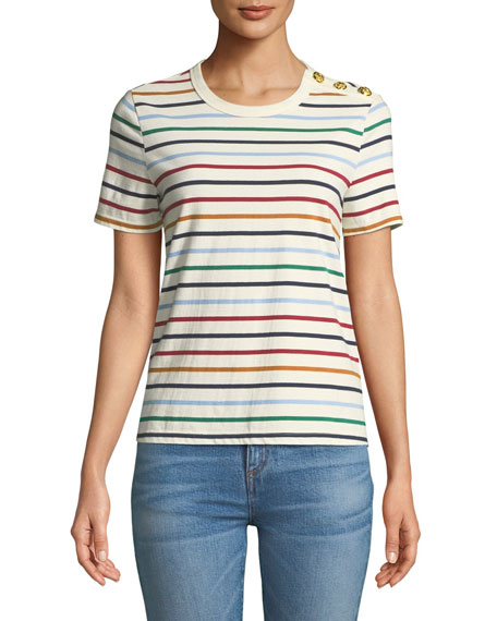 Veronica Beard Simpson Striped Button-Shoulder Cotton Tee