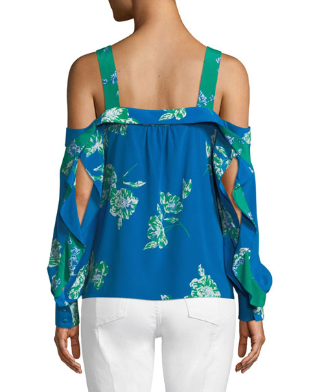 Paola Floral Split-Sleeve Crepe Top