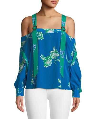 Paola Floral Split-Sleeve Crepe Top