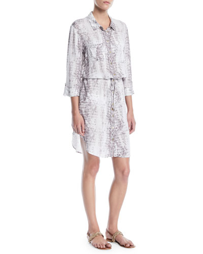 Alhambra Printed Button-Front Shirt Dress Coverup
