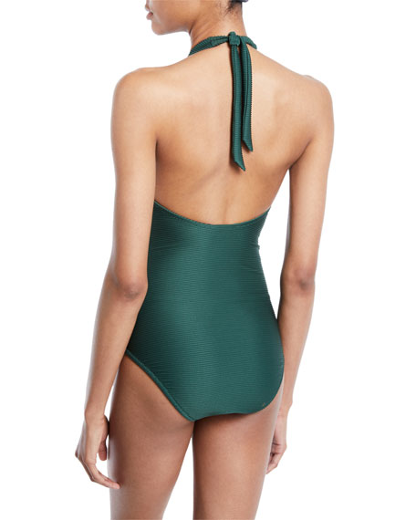 Polynesia V-Bar Halter One-Piece Swimsuit