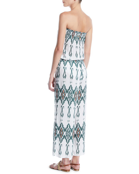 Strapless Printed Wide-Leg Jumpsuit Coverup