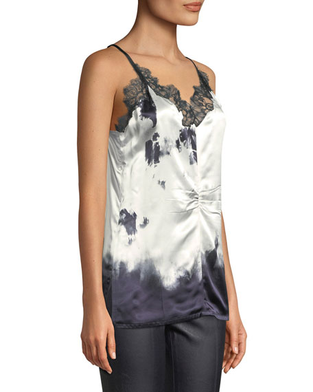 Printed Silk Camisole Top with Lace Trim