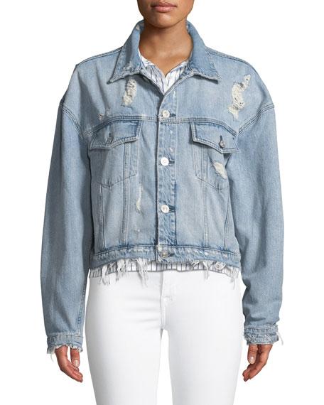 Rei Distressed Cropped Denim Jacket
