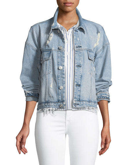 Rei Distressed Cropped Denim Jacket