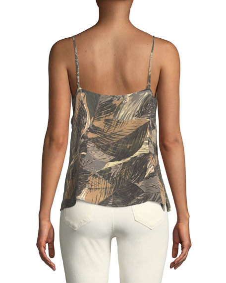 Jane Leaf-Print Sleeveless Silk Top