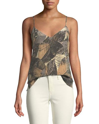 Jane Leaf-Print Sleeveless Silk Top