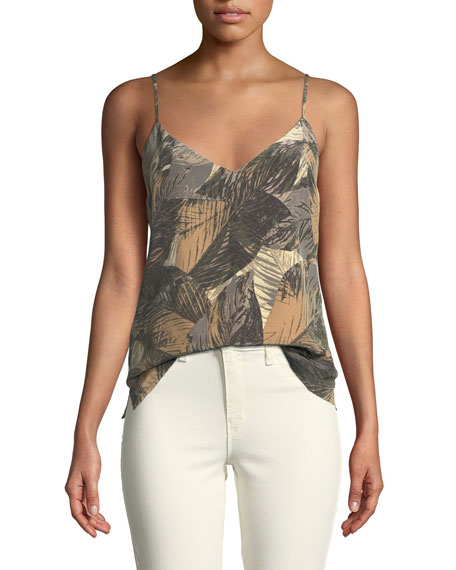 L'Agence Jane Leaf-Print Sleeveless Silk Top and Matching