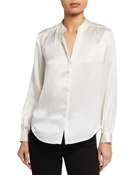 Bianca Silk Charmeuse Button-Down Blouse