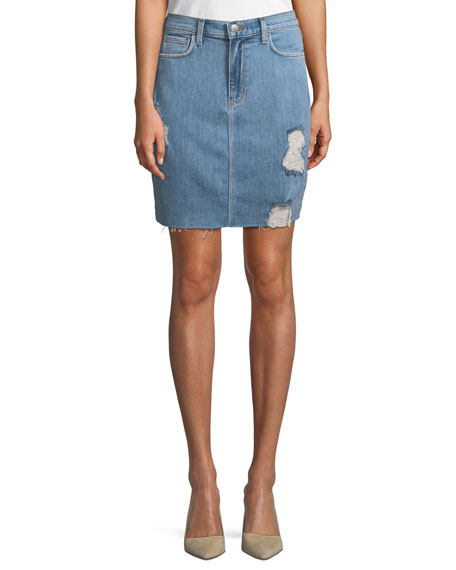 L'Agence Manuela Distressed Denim Mini Skirt