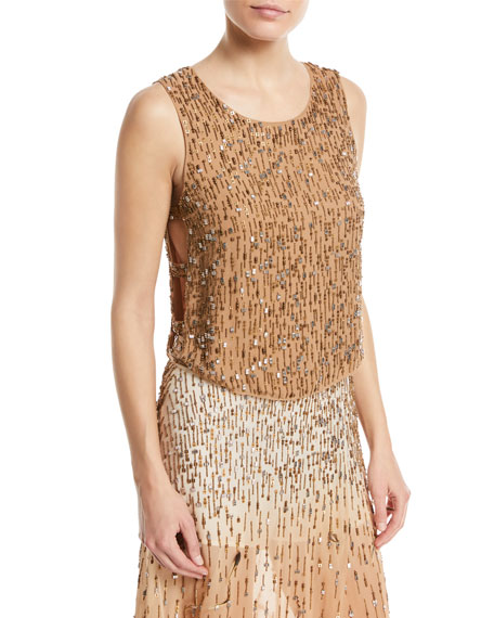 CRIMINAL LOVE METALLIC BEADED & SEQUINED TOP