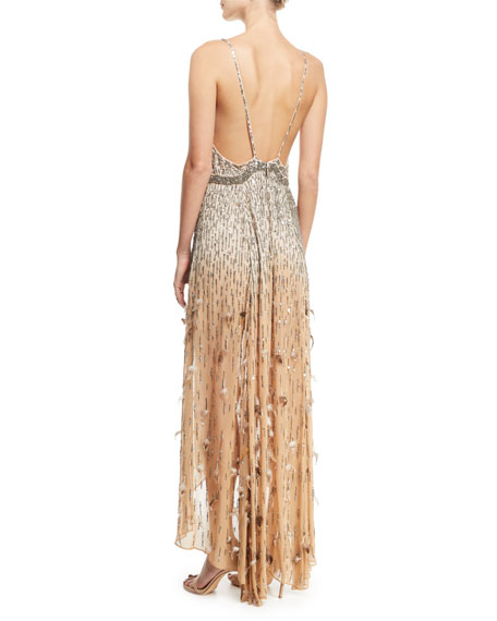Criminal Love Embellished V-Neck Gown