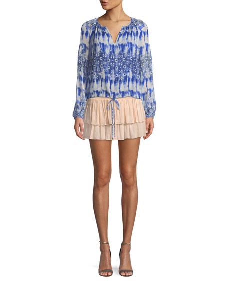 Sibyl Smocked Two-Tier Mini Skirt