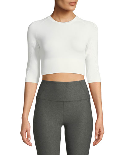 Fletcher Mesh 3/4-Sleeve Activewear Crop Top