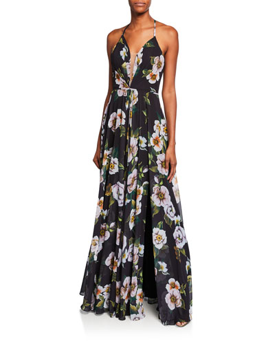 Floral-Print Halter Gown with Lace-Up Tie-Back