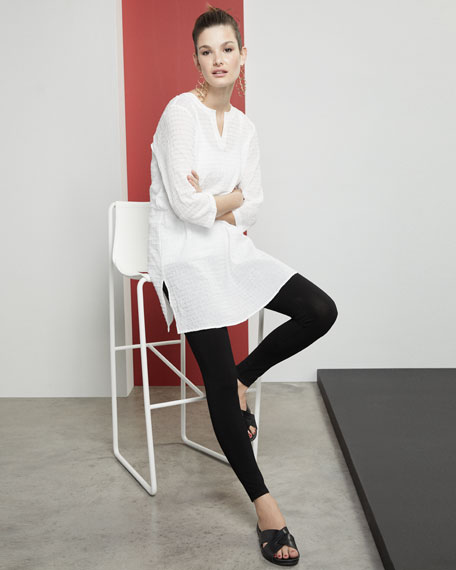 Petite Grid-Texture 3/4-Sleeve Organic Cotton Voile Tunic