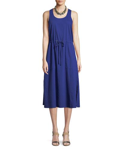 Soft Organic Cotton Twill Racerback Midi Dress, Petite