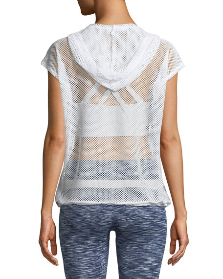 Aven Sleeveless Hooded Sheer Mesh Pullover