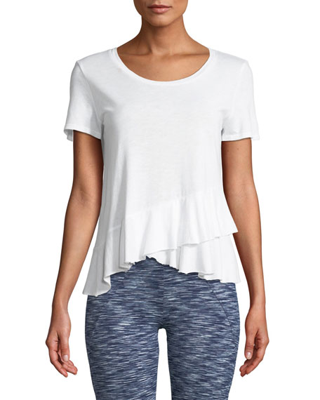 Draped Ruffle Scoop-Neck Tee