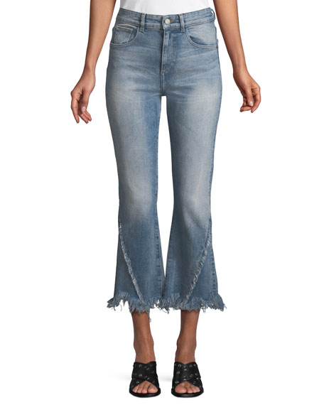 DL1961 Premium Denim Wallace High-Rise Flare Raw-Edge Cropped
