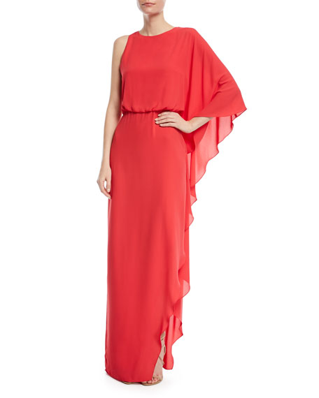 Flowy One-Shoulder Gown w/ Back Cowl