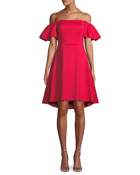 Halston Heritage Flounce-Sleeve Off-the-Shoulder Cocktail Dress