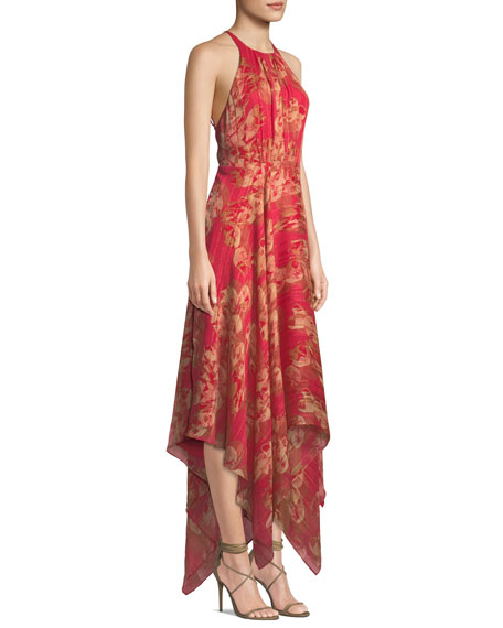 Strappy Floral & Metallic Stripe Gown