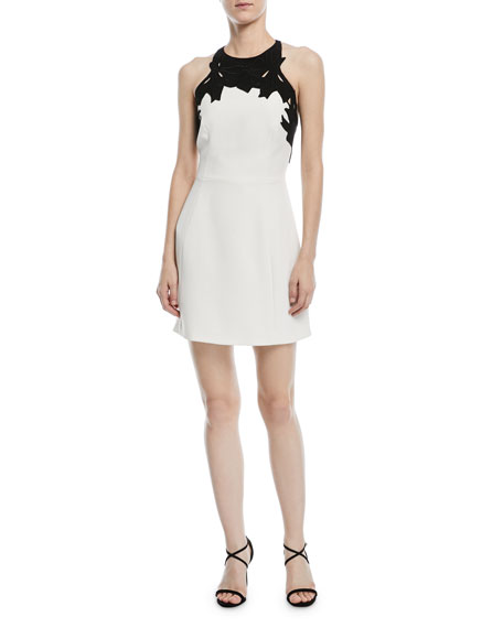 Halston Heritage Colorblock Mini Dress w/ Embroidered Top