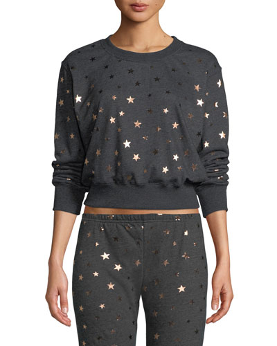 Stars Cropped Pullover Sweatshirt
