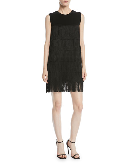Norma Kamali Sleeveless Fringe Mini Dress