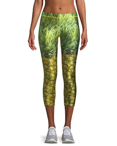 Pineapple Printed Capri Performance Leggings