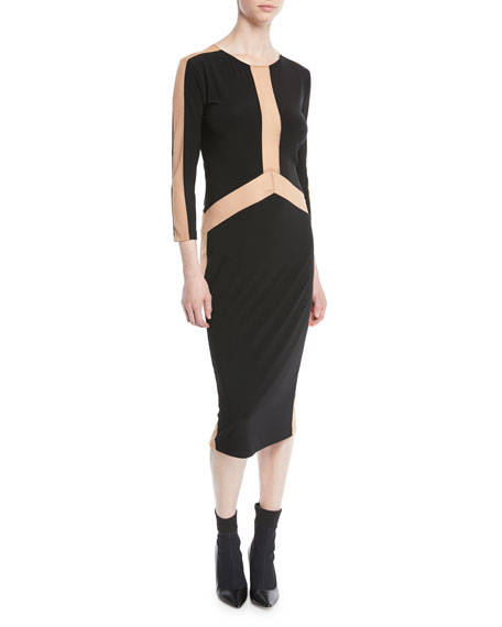 Norma Kamali Spliced Long-Sleeve Stretch Jersey Dress